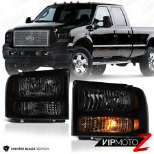 2005-2007 Ford SuperDuty F250 F350 SD [SINISTER BLACK] Smoke Headlights Lamps