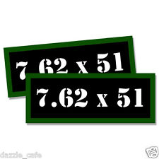 "7.62 X 51 Ammo Can 2x Labels Ammunition Case 3""x1.15"" stickers decals 2 pack"