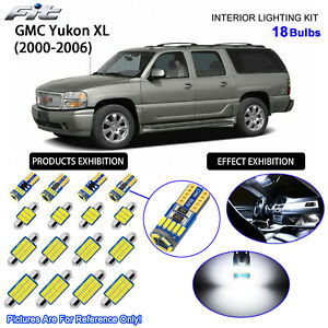 18 Bulbs LED Interior Dome Light Kit 6000K Cool White For 2000-2006 GMC Yukon XL