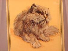 Altes handgemaltes Katzenbild Perser aus Nachlass signiert