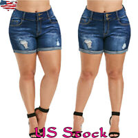 Plus Size Womens Casual Denim Shorts Ladies High Waisted Short Jeans Hotpants