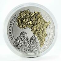 Rwanda 50 francs Family of Gorillas African continent gilded silver coin 2008