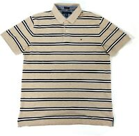 Tommy Hilfiger Mens XL Short Sleeve Cotton Polo Shirt Striped Brown