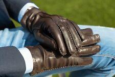 GUANTI UOMO PELLE CASHMERE MARRONE MORO 100% Made In Italy Gloves ELIANTO