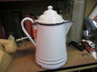 COFFEE POT BLUE WHITE enamel ware boiler 3 QUART original mid 1900'S  VINTAGE