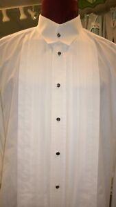 Perry Ellis White Crosswick Tie Less Collar Formal Tuxedo Shirt w Studs- Boys XS