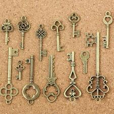13pcs Set Antique Old LOOK Bronze Keys Vintage DIY Pendant Metal Charms Decor UK