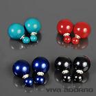Oreille Piercing Double Perles Argent 925 boucles d'OREILLES ws57