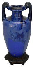 Fulper Pottery Mottled Blue Drip Glaze Vase Shape 486
