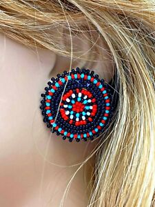 HANDCRAFTED BEADED ROUND BLACK RED FLOWER POST EARRINGS USA 60/64