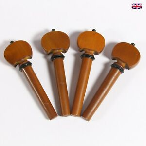 Finest Quality Boxwood Violin Peg Set - Baroque Model with Ebony Collar and Pip