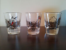 3 pc funny wolf camel & ostrich shotglass shot glass vintage ?