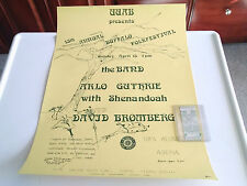The Band, David Bromberg Arlo Guthrie Genuine Concert Poster+Ticket Stub 4/15/84