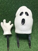 VTG PAPER MAGIC 1999 HALLOWEEN Ghost HEAD/1 Hand BLOW MOLD SET LIGHT UP W Stakes