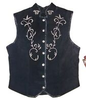 Women's Black Vintage Suede Leather Beaded Vest NEW with tags USA Size 10