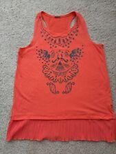 Poof Girl Brand Tank Top Orange w/ Black sparkle flower design (Girl's Large)