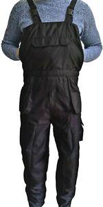 UK Heavy Duty Bib and Brace Overalls Mens Work Trousers Multi Pocket Robust Knee