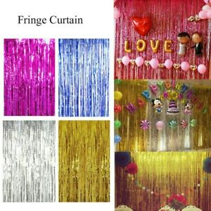 1m x 2m Metallic Light Pink Tinsel Foil Fringe Rain Curtain Girl Party Decor
