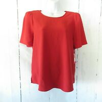 New $79 Vince Camuto Top S Small Red Puff Sleeve Blouse