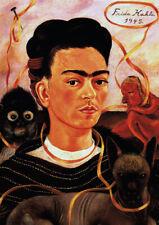 Self-portrait with the Monkey Kahlo A4 size 21x29.7cm Canvas Art Print Unframed