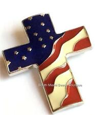 Christian Plated July 4th Usa Seller Silver American Us Flag Cross Pin Brooch