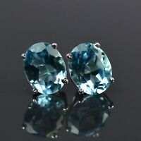 9x7 MM Oval Cut Natural Blue Topaz Gemstone 925 Sterling Silver Stud Earring