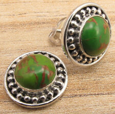 Stud Earrings, Green Copper Turquoise 925 Silver Plated 1/2 Inch Eye-Catching
