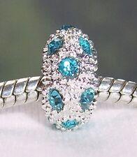 December Birthstone Blue Rhinestone Bead fits Silver European Charm Bracelets