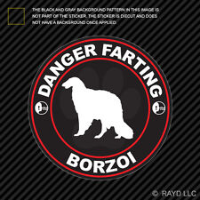 Danger Farting Borzoi Sticker Decal Self Adhesive Vinyl dog canine pet