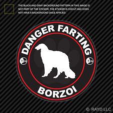 Danger Farting Borzoi Sticker Decal Self Adhesive Vinyl dog canine pet