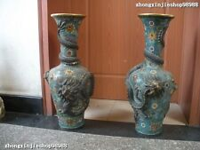 China 100% pure Bronze 24K Gold handwork Cloisonne Dragons vase bottle Pot pair