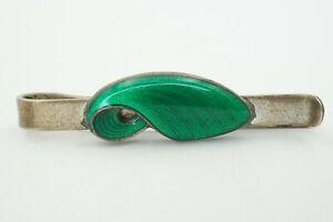 Vintage Bernhard Hertz Denmark Sterling 925S Green Enamel Guilloche Tie Clip