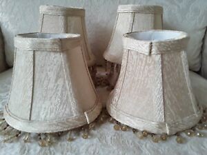 "6 Chandelier Mini Lamp Shades Champagne Moire Taffeta Fabric Beaded 4"" High"