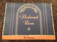 Boulevard Room Dinner Menu The Stevens 1945 Chicago Illinois VINTAGE
