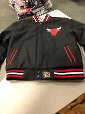 Chicago Bulls NBA Jacket  J H DESIGN  YOUTH/BOYS  WOOL JACKET REVERSIBLE BLACK