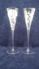 Set Of 2 Crystal Champagne Flute Glasses With Frosted Flowers 9 2 3 Tall Ebay