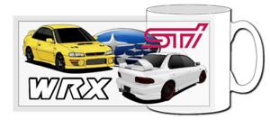 Subaru impreza classic car mug, jdm, 22b, gc8, wrx, sti, p1, ej20, newage,