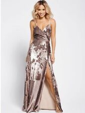 BNWT MYLEENE KLASS GOLD FULLY SEQUINNED STRAPPY MAXI DRESS SIZE UK 14 RRP £140