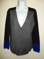 C BY BLOOMINGDALE'S 100% CASHMERE GRAY/BLACK V-NECK 2 POCKETS CARDIGAN SWEATER M