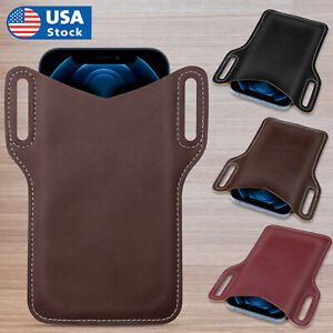 Cell Phone Holster Pouch PU Leather Case Belt Loop Waist Bag For Samsung iPhone