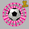 40 Personalised Football Party Stickers Bag Seals Invites foot ball footy. Pink
