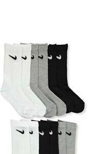 6 Pair Boys Little Kids & Toddler Nike Crew Socks White Black Grey
