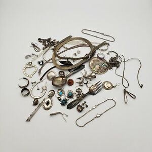 Lot Sterling Silver 925 Scrap Jewelry Marked/Tested Some Stones - 304 grams