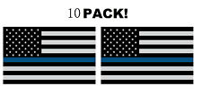 10pcs Police Officer Thin Blue Line Reflective American Flag Decal Sticker ==