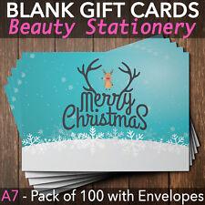 Christmas Gift Vouchers Blank Beauty Salon Card Nail Massage x100 A7+Envelope RU
