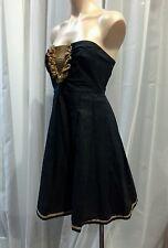 NIKOLA FINETTI BLACK AND GOLD STRAPLESS COCKTAIL DRESS SIZE 10