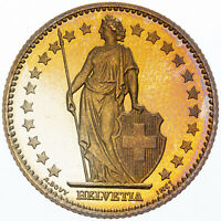 1982 SWITZERLAND HELVETIA 1 FRANCS GOLDEN BU GEM GORGEOUS COLOR UNC TONED (MR)
