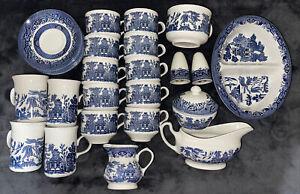 Vintage 31 Piece  Blue Willow Churchill Staffordshire England Tea Set.