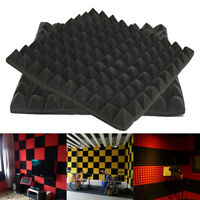 Black Acoustic Wedge Studio Absorption Soundproofing Foam Wall Tiles 50x50x5cm !