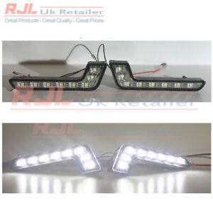 Pair of 8 L Shaped  Encased LED Car DRL Daytime Running Lights White Universal